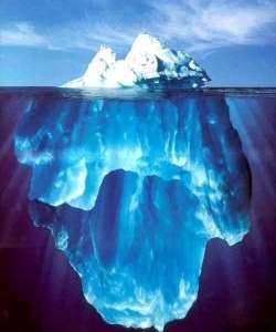 [composite photo of an iceberg, both exposed tip and submerged bulk]